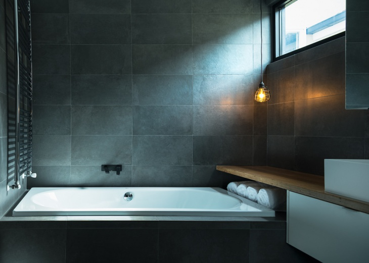 Bright Grey Wall Bathroom