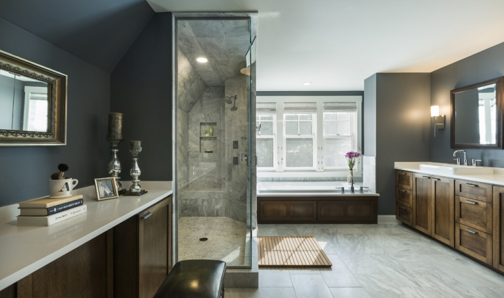 grey and white transitional bathroom