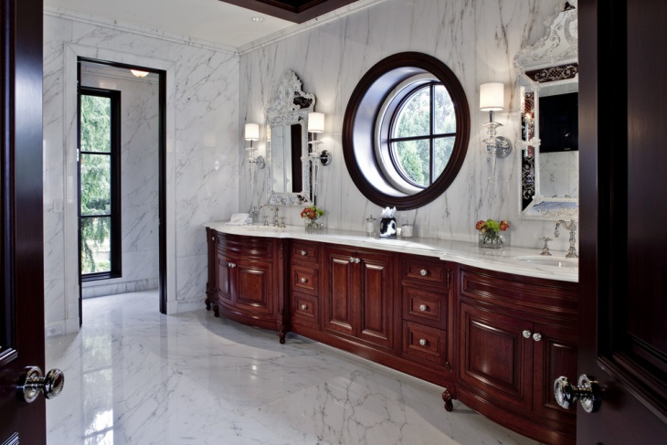 vintage bathroom with cherry wood cabinets