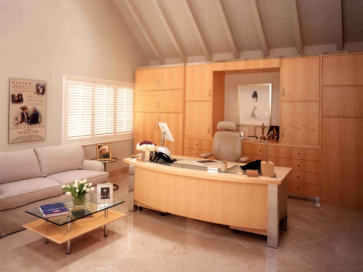 modern office with light colored cabinets