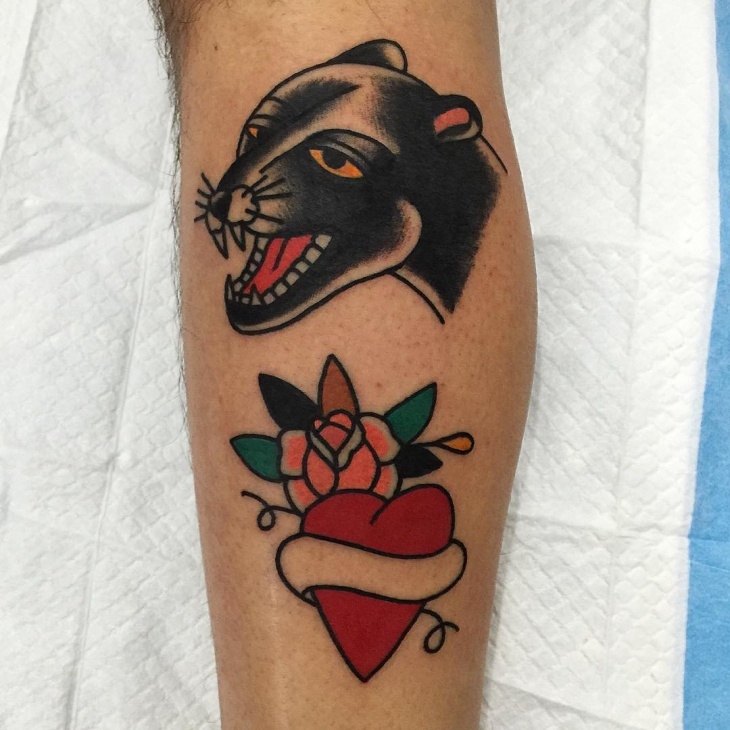 Classic Rose and Panther Tattoo