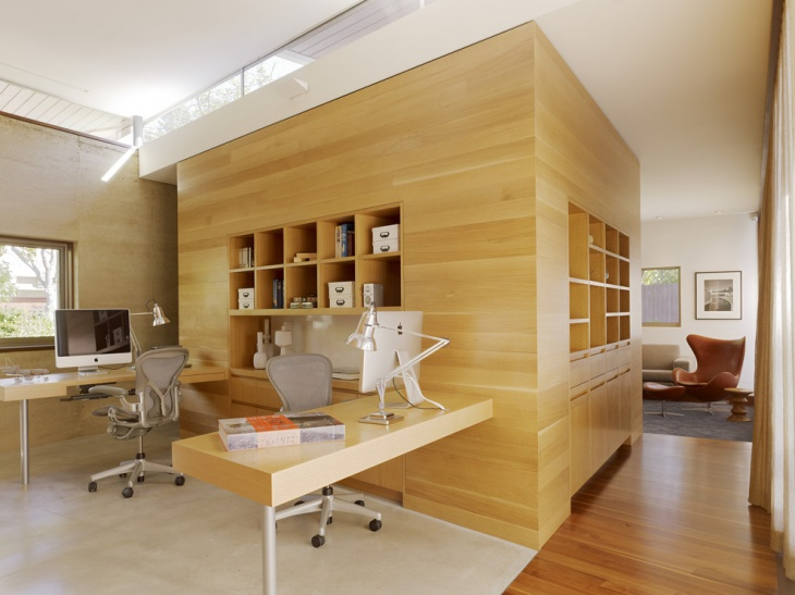 wooden traditional home office idea