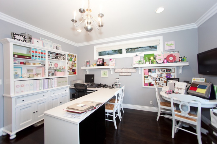 colorful home storage office design
