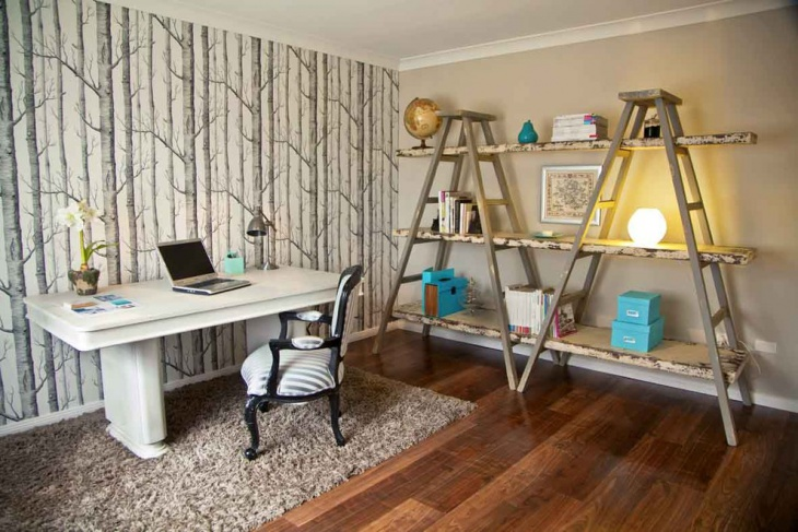 Simple Home Office with Decorative Wall