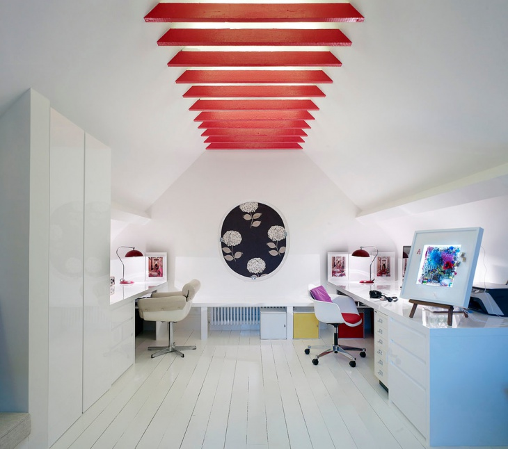 Red and White Home Office Idea