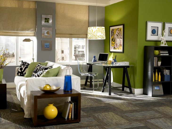 Green Color Wall Home Office