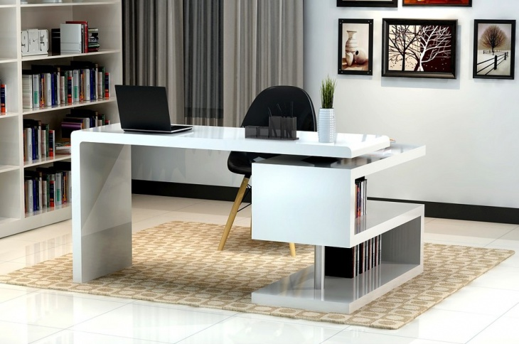 Black and White Home Office with S-Shaped Bookcase