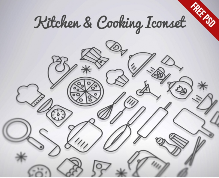 Download Kitchen & Cooking Outline Icons set Free