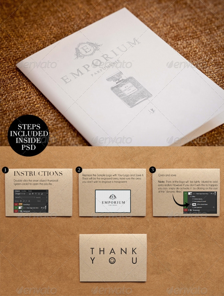 elegant paper press logo presentation mockup