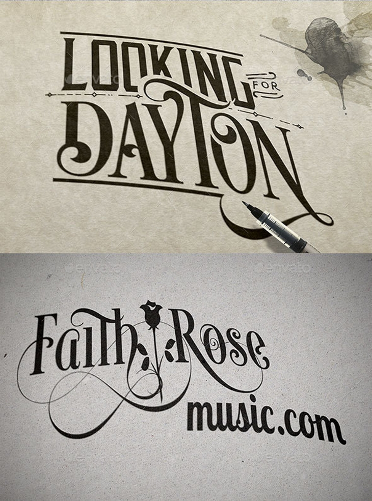 text or logo on paper with stains mockup