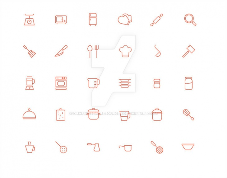 30 Kitchen Outline Icons Psd Download