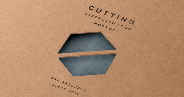Cutting Cardboard Logo Mock-Up