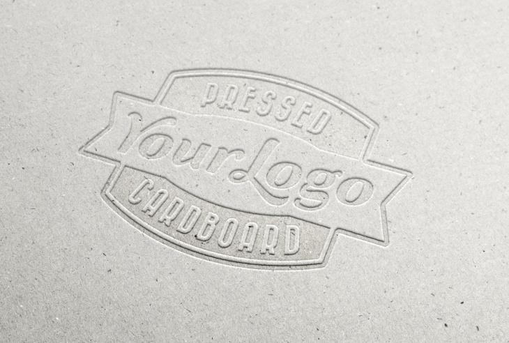 """Pressed Cardboard Logo MockUp """