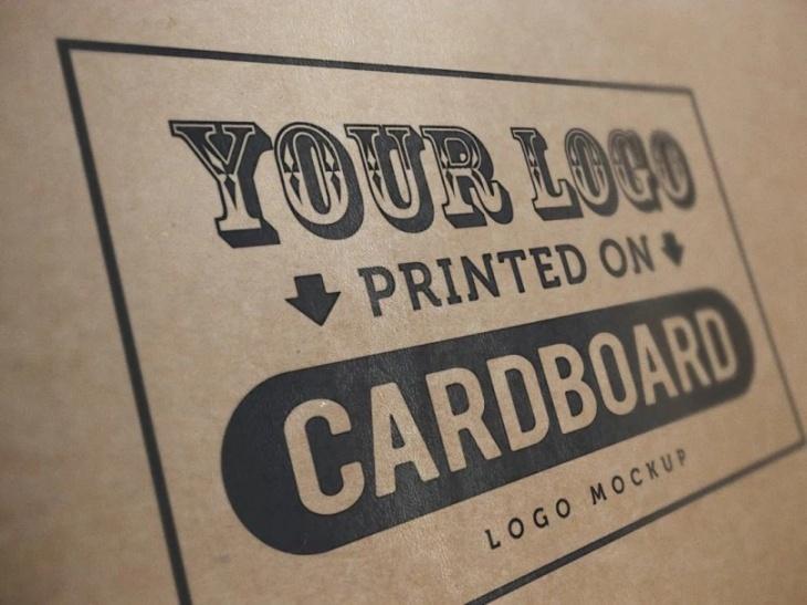 Cardboard logo mockup PSD