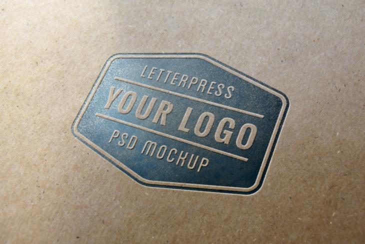 Letterpress Logo MockUp on Cardboard
