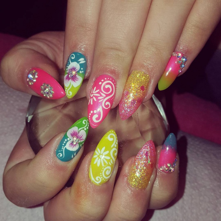 floral art on pointy nails