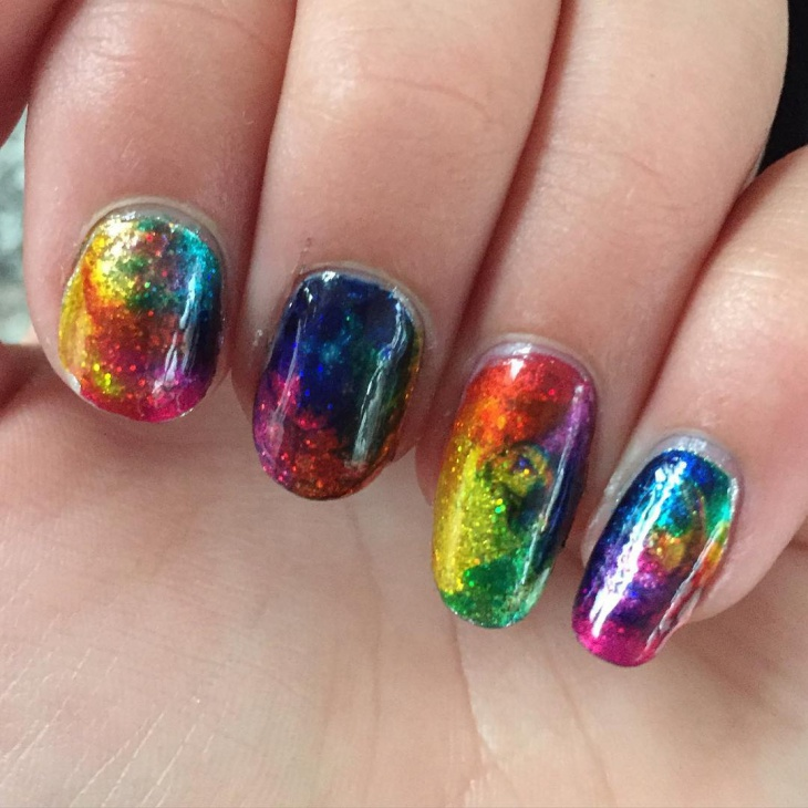 rainbow color glitter nail design