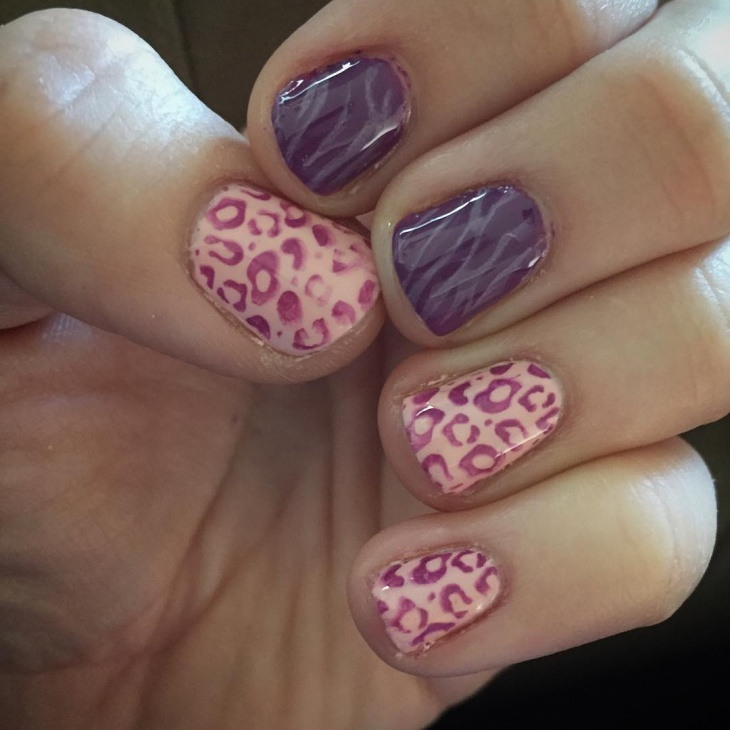 pink and purple cheetah nail art