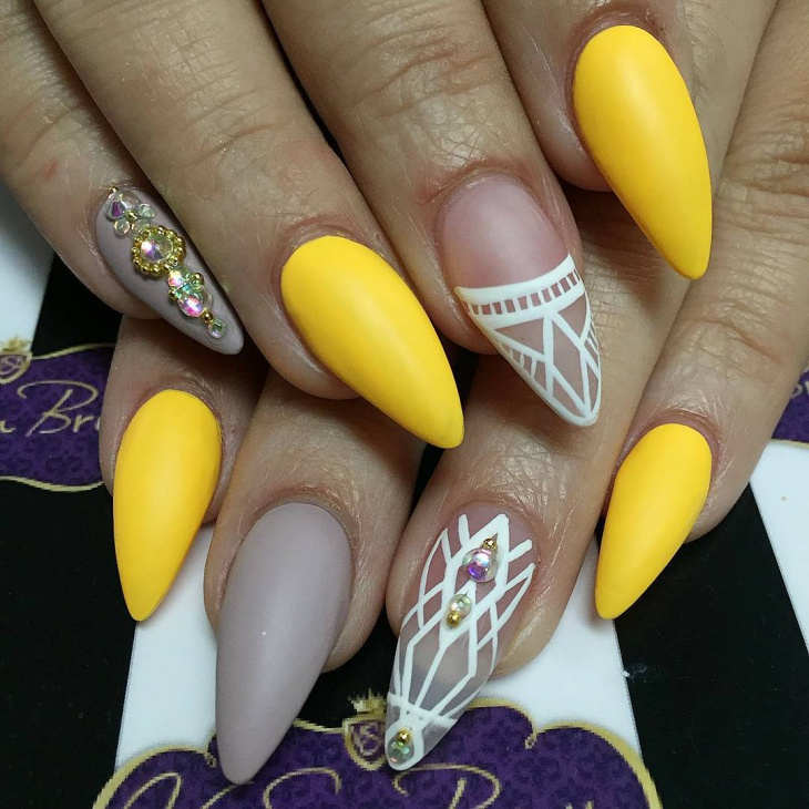 yellow color nail design