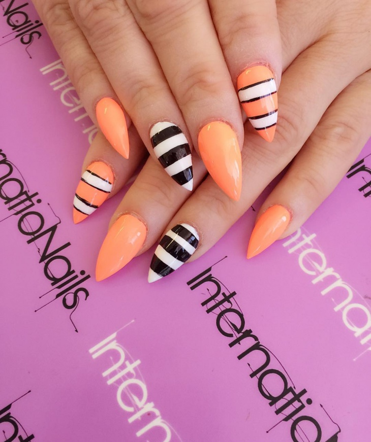 striped nail art on acrylic nails