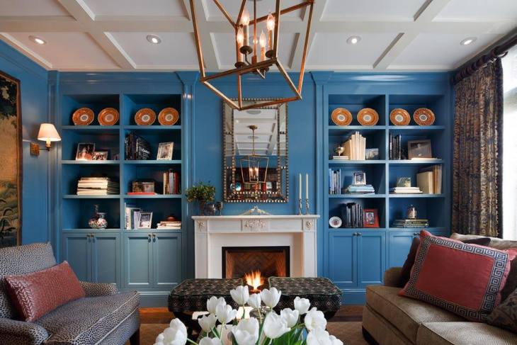 Blue Bookcases in Small Living Room