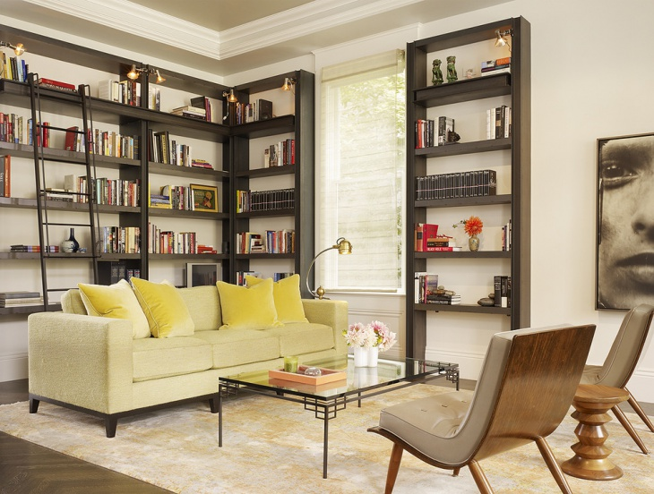 Transitional Living Room With Library