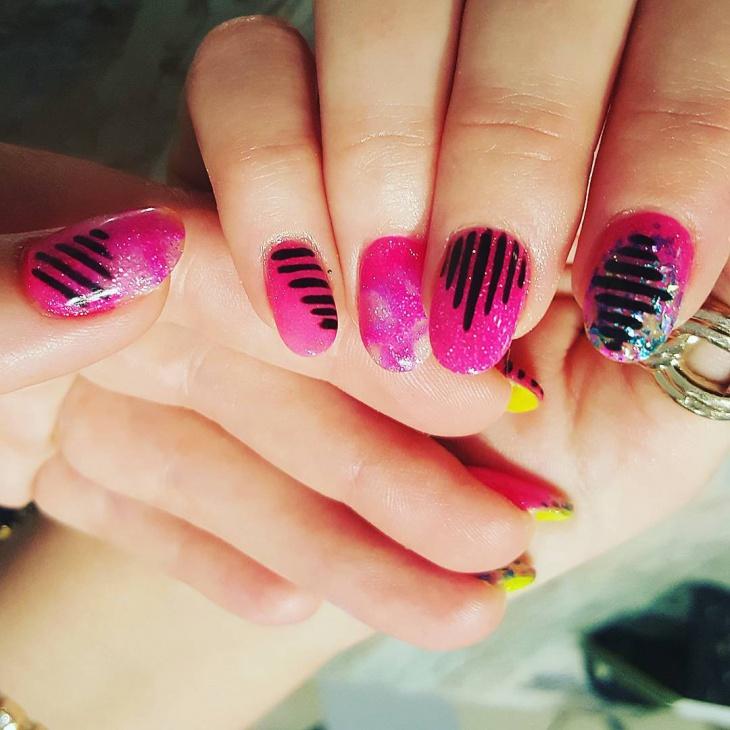 Classy Pink Glitter Nails