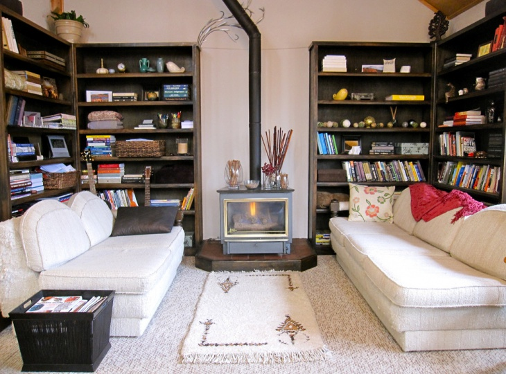 eclectic living room book shelves design - Bookcase Design Ideas