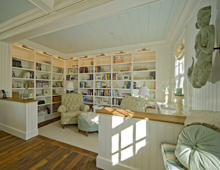 Traditional Family Room with Built In Shelves