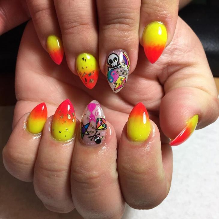 Skull Orange Nails