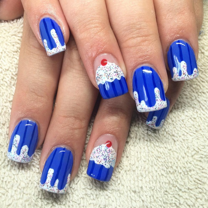 blue and white cupcake nail art