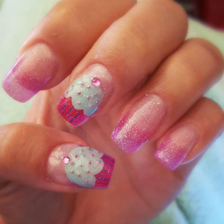 Shimmery Cupcake Nail Design