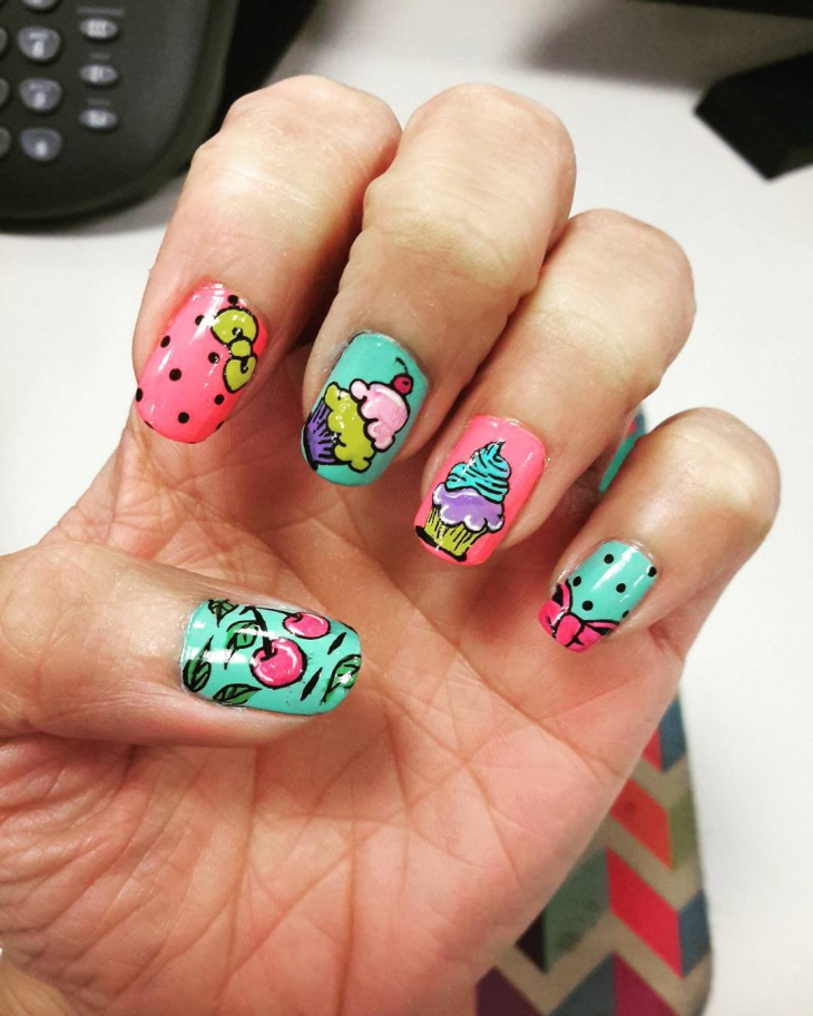 beautiful painted nail design