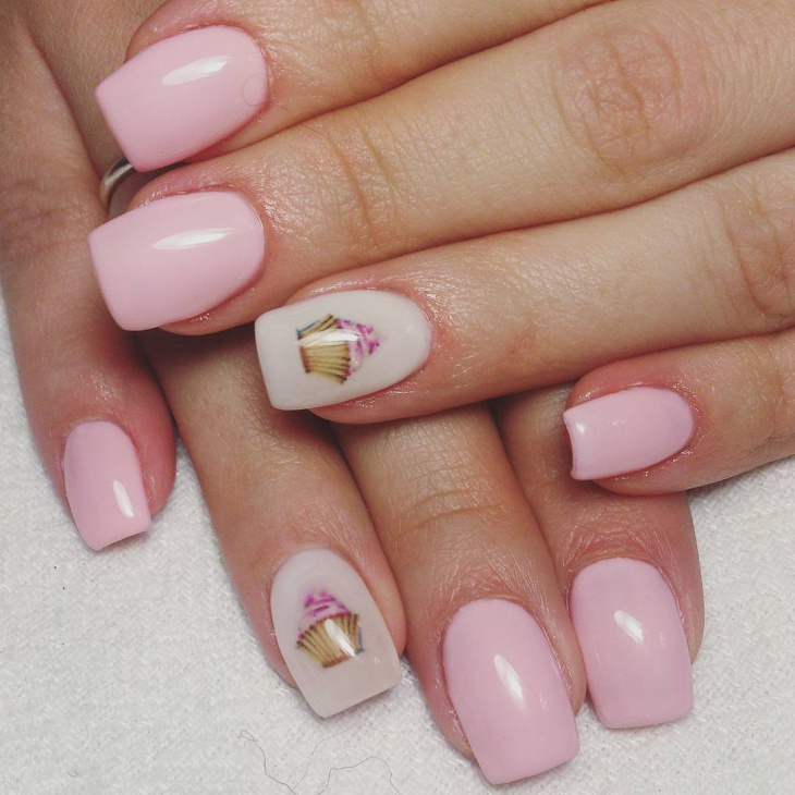 awesome cupcake art on pink nails