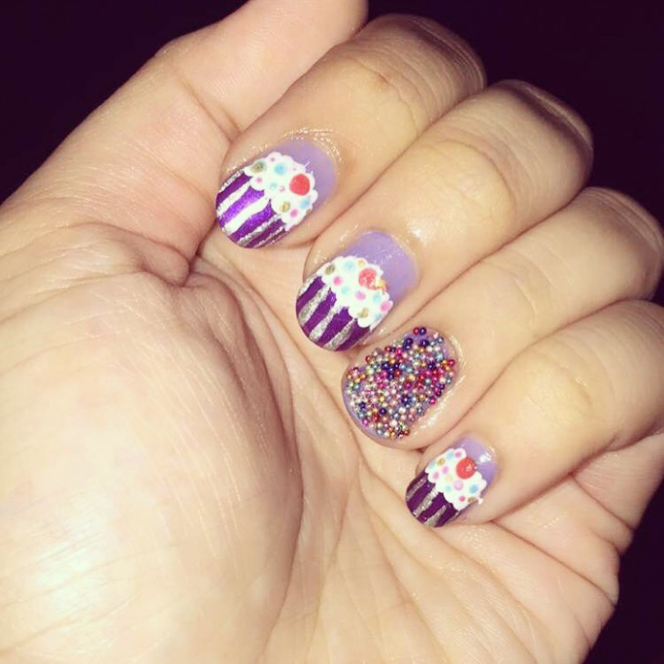 Purple Color Birthday Nail Art
