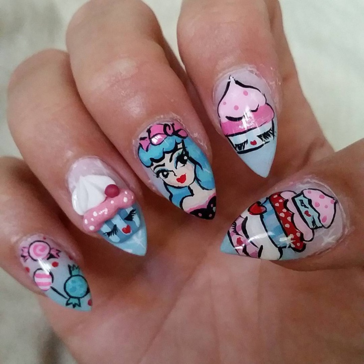 Awesome Nail Art on Pointy Nails