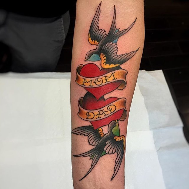 cute bird and dad tattoo