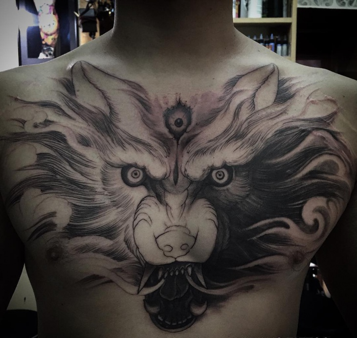 Chest Wolf Tattoo