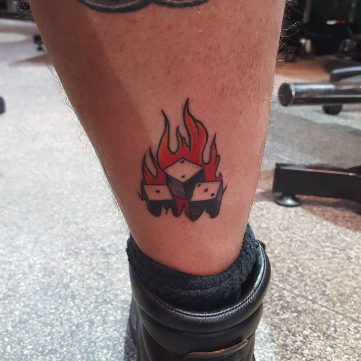 Dice with Fire Tattoo