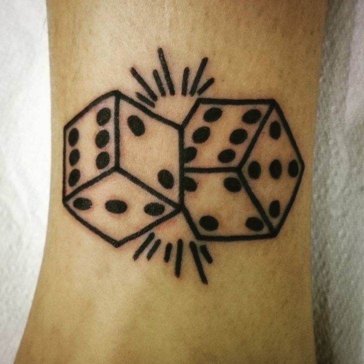 Simple Dice Tattoo on Wrist