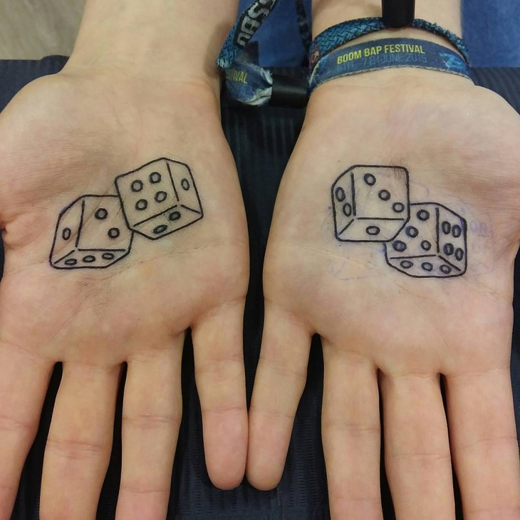 Cute Dice Tattoo on Palm