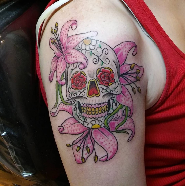 skull with lily tattoo design