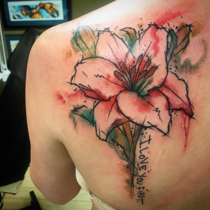 watercolor tiger lily tattoo