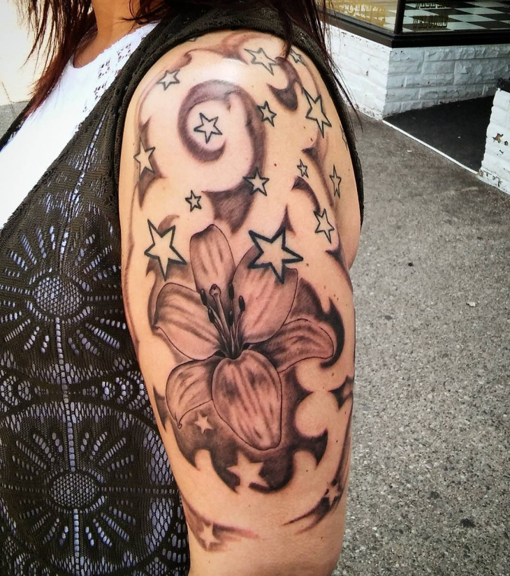 awesome half sleeve tattoo with stars