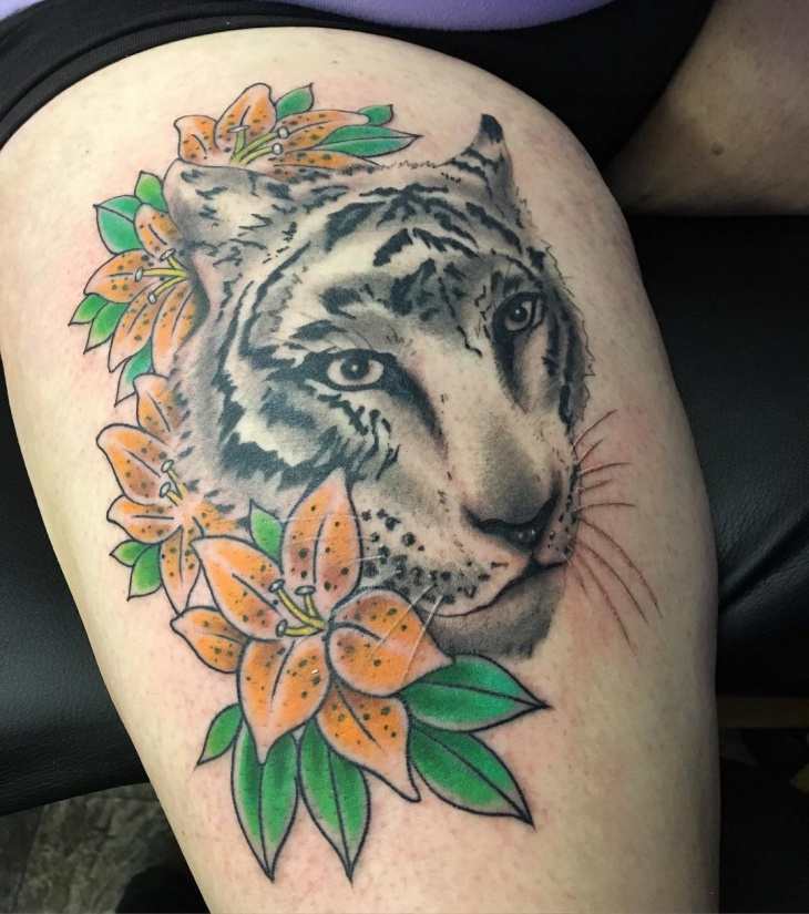 tarditional tiger tattoo
