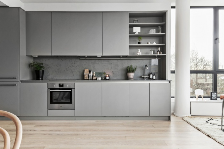 grey color scandinavian kitchen