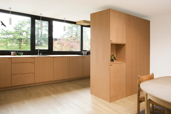 Open Feel Kitchen with Polished Floor