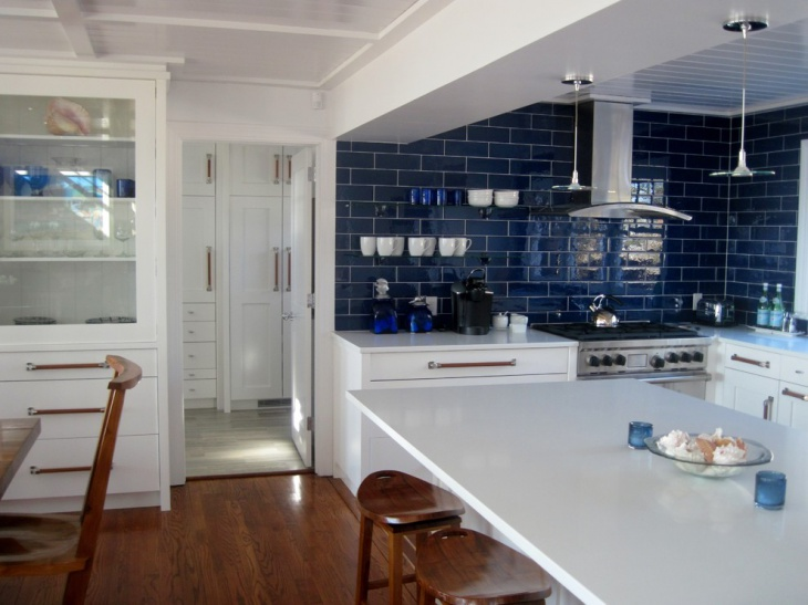 Blue Tile Wall Kitchen