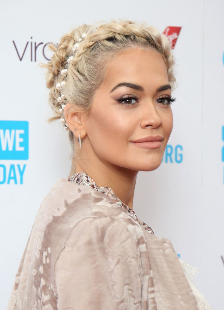 Rita Ora Dutch Braid Hairstyle