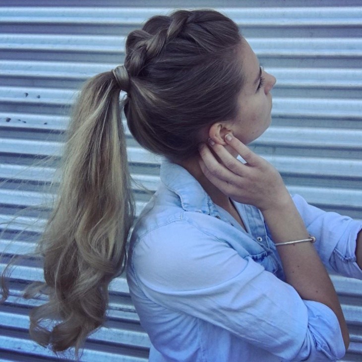 Easy Dutch Braid Ponytail